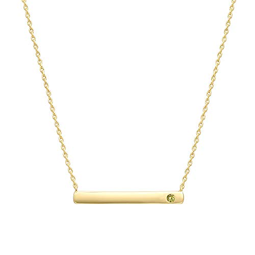 (PAVOI 14K Gold Plated Swarovski Crystal Birthstone Bar Necklace | Dainty Necklace | Gold Necklaces for Women | August Peridot)