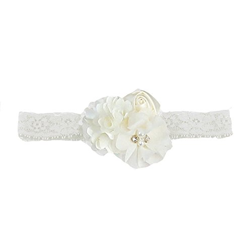 Cute Lace Flower Baby Elastic Headband(Fd43) (Ivory), Flower Size8.25 Inch2.75 Inch ()