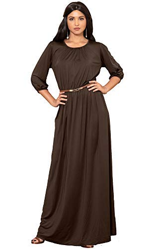 KOH KOH Womens Long 3/4 Sleeve Pleated Vintage Solid Fall Winter Maxi Dress