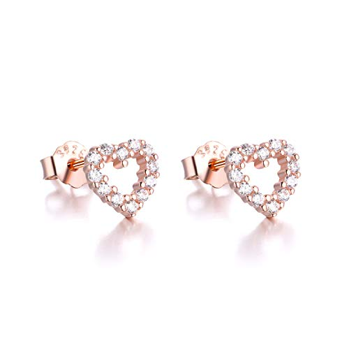 Cubic Heart Zirconia Twinkle - 925 Sterling Silver Heart Stud Earrings Rose Gold Love heart Earring Cubic Zirconia Stud Earring Best Gift for Women Girls