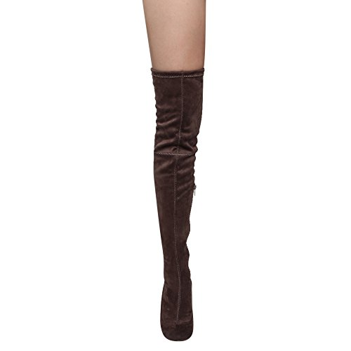 Liliana Kenzy-6 Womens Drawstring Tie Chunky Heel Over Knee High Stretchy Boots Taupe VBtnYk