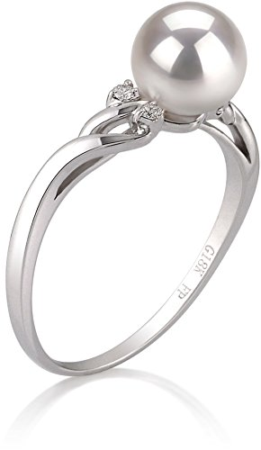 PearlsOnly - Andrea White 6-7mm AAA Quality Japanese Akoya 14K White Gold Cultured Pearl Ring - Size-6 by PearlsOnly (Image #1)