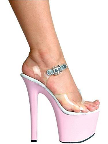 Ellie Shoes E-711-Flirt-C 7 Heel Clear Bottom Sandal Clear/Pink/5