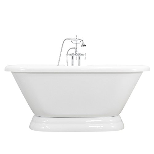 """Hotel Collection HLPD59FPK 59"""" Heavy Duty CoreAcryl Double Walled Acrylic Double Ended Pedestal Bath Tub and Faucet Pack"""