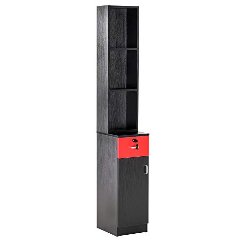 BarberPub Locking Wall Mount Hair Styling Barber Station Drawer Storage Beauty Salon Spa Equipment (Black&Red) from BarberPub