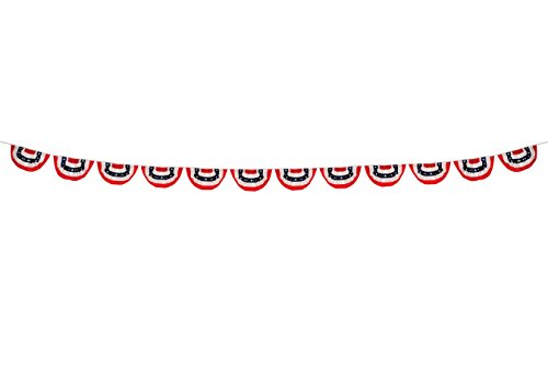 In the Breeze 18 Foot Patriotic Bunting on a String - Red, White & Blue Hanging Decoration
