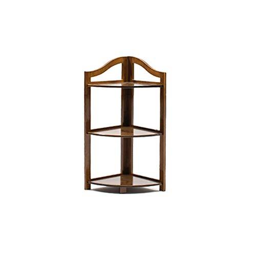min MinMin Bookshelf - Solid Wood, Corner Frame, New Chinese Corner Flower Stand, partition Vintage Living Room Shelf, Floor Stand, Storage Rack Office Storage Shelves (Size : 73x31cm)