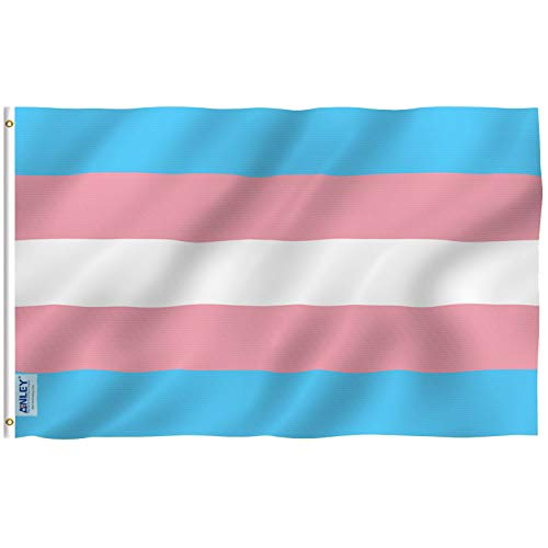 Anley Fly Breeze 3x5 Foot Transgender Flag - Vivid Color and UV Fade Resistant - Canvas Header and Double Stitched - Pink Blue Rainbow Flags Polyester with Brass Grommets 3 X 5 Ft ()