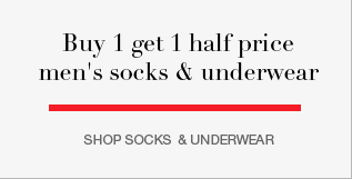 Buy 1 get 1 half price men's socks and underwear