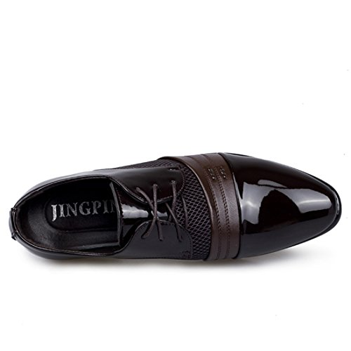 ... Xiafen Mens Fashion Behagelig Skinn Kjole Oxfords Sko For Business Og Uformell  Brun ...