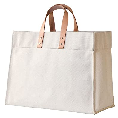 Amazon.com: CB Station - Leather Utility- NATURAL Canvas Bag: Home ...