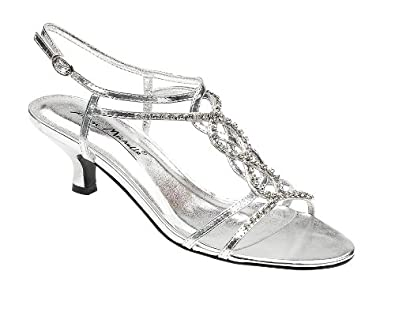 Ladies L3879 Silver Diamante Trim Kitten Heel Sandal (UK 5 ...