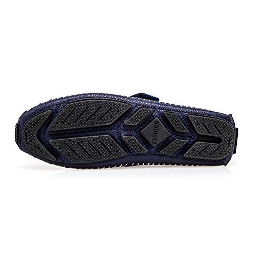 a1c5936e4f3 Conducción Azul2 Zapatos Aliento Cuero Hombres Primavera Slip On C5Ux7TnwHq