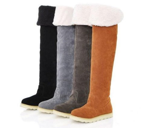 Amazon.com | Gaorui Women Winter Flat Thigh High Snow Boots Girl's ...