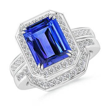 Angara Diamond Halo Emerald Cut Tanzanite Engagement Ring in White Gold NU0IgHmceM