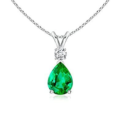 Angara Infinity Knot Natural Emerald Solitaire Necklace for Her in Rose Gold bzYUlpFz