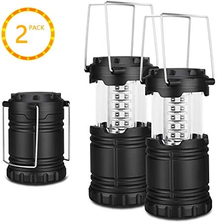 EVERWELL 2 Pack LED Camping Lantern, Outdoor Portable Lantern, Collapsible, Battery Powered, Great Addition to: Survival Kits Hurricane, Emergency,