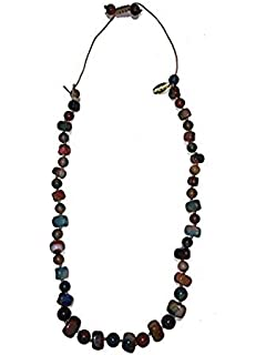 Geotopia Long Tube Black Agate Necklace of Length 32-40cm
