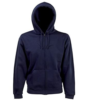 Fruit of the loom zip through hooded sweatshirt hoodie Navy blue ...