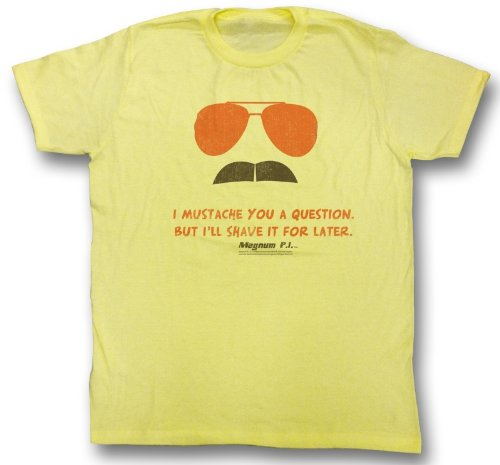Amazon.com: Magnum PI T-shirt Stache Logo Classic Adult Yellow Tee Shirt:  Clothing