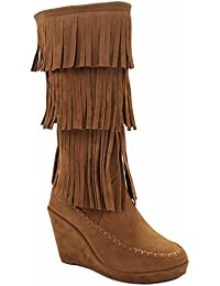 Joyce Faux Suede 3 Layer Fringe Side Zipper Mid Calf Moccasin Bootie Boots