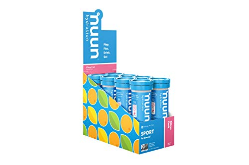 Nuun Sport Electrolyte-Rich Sports Drink Tablets, Citrus Fruit, Box of 8 Tubes 80 servings , Sports Drink for Replenishment of Essential Electrolytes Lost Through Sweat