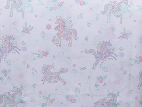 Nicole Miller Botanical Unicorns with Flower Bouquets - Kids Cotton Percale Sheet Set Pink Purple Green (Twin)