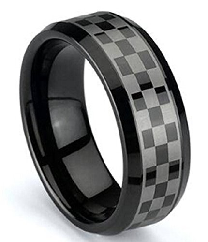 8 mm Black Titanium Checkered Unisex Beveled Edge Wedding Band Ring by Cohro CJTI401BP-11 Checkered Band Ring