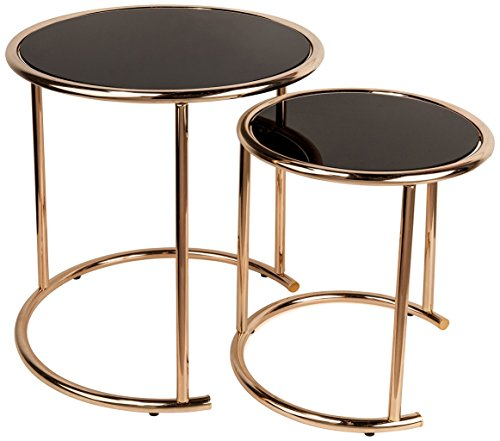 Nested Side Tables (2-Pc Round Nesting End Table with Black Glass Top)