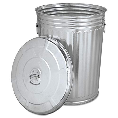 Home & Comforts Trash can with lid - Pre-Galvanized Trash Can with Lid Round, Steel, 20gal, Gray, Sold as 1 Each - Metal Trash can - Outdoor Garbage can with lid - Galvanized Trash can with lid.