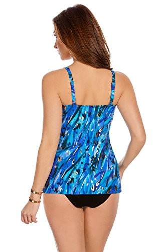 Miraclesuit Women's Animal Magnetism Love Knot Underwire Tankini Top Blue 14