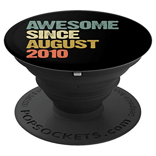 - Awesome Since August 2010 9 Years Old 9th Birthday Gift PopSockets Grip and Stand for Phones and Tablets