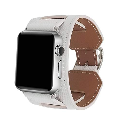 8 Colors Compatible for Iwatch Series 3 Band, Premium Genuine Leather Strap Classic Replacement with Secure Buckle Adapter for iWatch Series 3/2/ 1/Edition/Sport 42mm 38mm (White, 42mm)