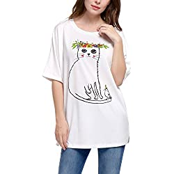 Allegra K Women's Cat Floral Prints 1/2 Batwing Sleeves Loose Tunic Top XL White (US 18)