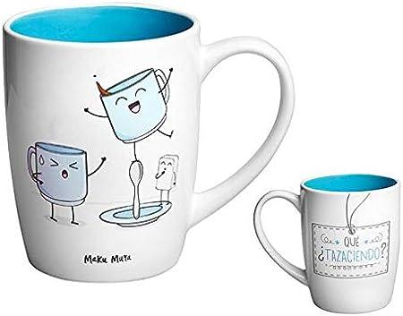 MAKUMURA Tazas de Desayuno Originales y Divertidas-Taza con Mensaje Gracioso - Cerámica 330 ml (Que tazaciendo): Amazon.es: Hogar
