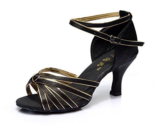 Donne Colori black Ballroom altri Scarpe Della Salsa Latino Sandali Dance Shoe Superiore Delle Med Professionista Satin 38 Ragazza UaqZanXp
