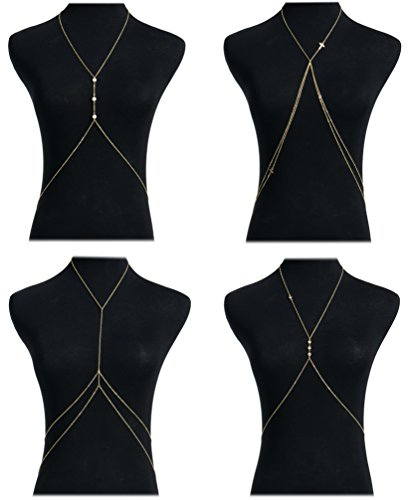 Masedy 4Pcs 18K Gold-Plated Sexy Crossover Body Belly Chains Necklace Bikini Beach Body Jewelry Gold