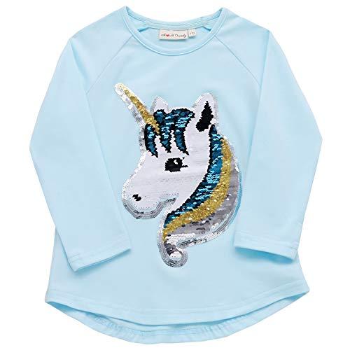 Flip Sequin Unicorn Shirt Top for Girls 3-12 Years (4, Fairy Aqua Long) (Girls Long Sleeve Shirt Top)