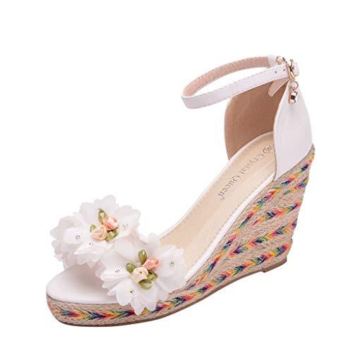 - Sharemen Women's Wedges Sandals Female Tassel Beaded Wedge Sandals Woven Bottom Sandals White Wedding Shoes Casual Shoes(White,US: 7)