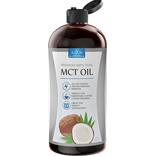 Anjou Premium MCT Oil C8 C10 Derived from Non-GMO 100% Organic Coconut Oil, Keto Friendly and Paleo Diet Approved, BPA-Free Bottle, 4332491451, 32 fl.oz by Anjou