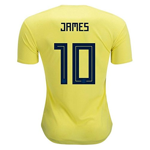 Worldcupjs Colombia National Team #10 James Rodriguez Men's Soccer Jerseys Yellow Size S