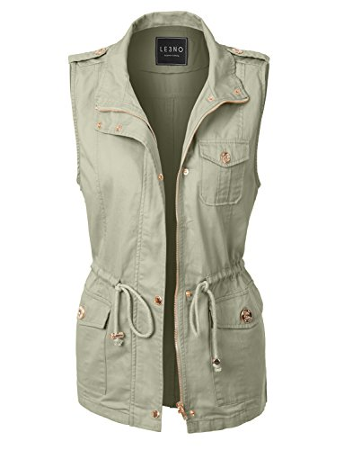 LE3NO Womens Lightweight Sleeveless Military Anorak Vest