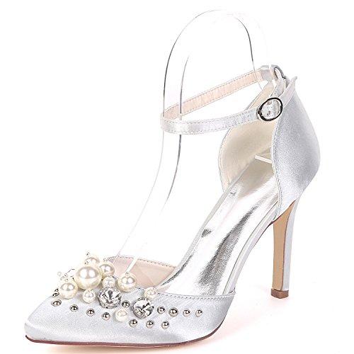 Closed Zapatos Heel Alta 5cm Boda Bridesmaids 9 Toe Eleoulck De Plataforma Low Silver Evening Mujer Chunky Nupcial YUwpxf