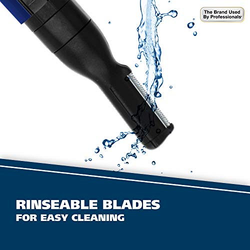 Wahl Lithium Pen Detail Trimmer With Interchangeable Heads for Nose, Ear, Neckline, Eyebrow, Other Detailing – Rinseable Blades for Hygienic Grooming & Easy cleaning – model 5643-400, Blue
