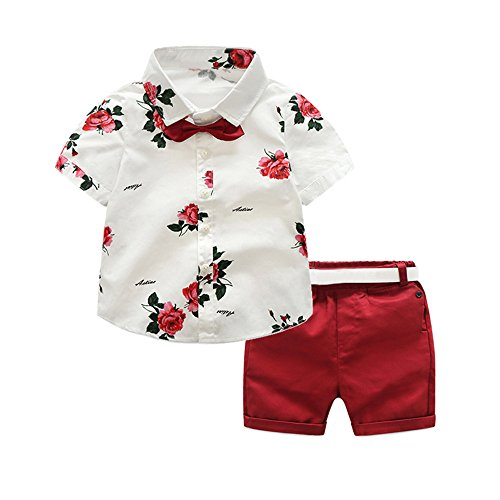 Boy Clothes Baby Dressy - Moyikiss Studio Summer Fashion Little Boys Gentleman Casual Outfit Sets Short Sleeve Printed Shirt+Shorts 2Pcs (Red, 90/2 Years)