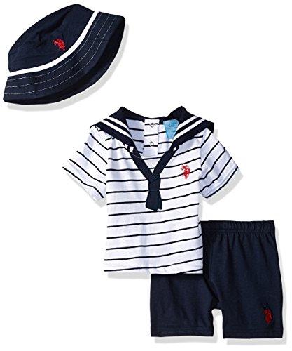 U.S. Polo Assn. Baby Boys T-Shirt and Short Set, The The Sailor Look Applique tie Navy, 24M