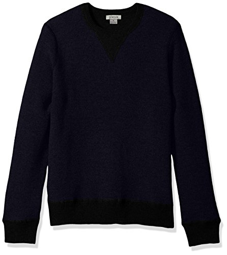 (Phenix Cashmere Men's 100% Cashmere 2 Tone Waffle Crew Neck Sweater, Black/Navy, Medium)