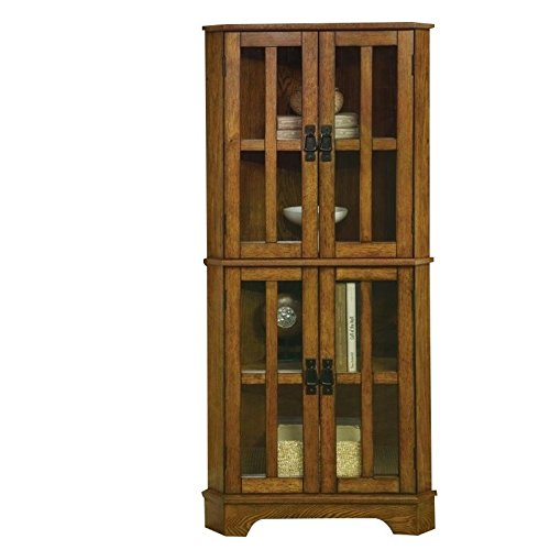 Door Corner Curio (Coaster Traditional Warm Brown 4 Shelf Corner Curio Cabinet with Windowpane Style Door Fronts)