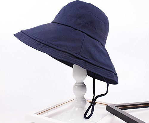 Puissant Color Twine Cotton Visor Hat Ms. Summer Beach Sunscreen Collapsible Fisherman Hat Navy One size (Navy Fisherman Style Velcro)