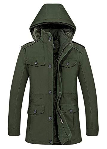 Ruiyuns Militaire Jacket En Parka Armée Chaud Coton Capuche Veste Blouson Fourrure Épaisse Vert Homme Outdoor D'hiver Manteau Style Doublure Excellent À Longues B6rqBwA